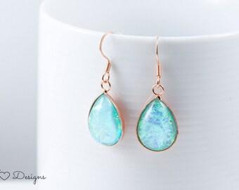 Teardrop Earrings, Faux Fire Opal Earrings, Faux Opal Earrings, Aqua Earrings, Aqua Teardrop Earrings, Bridal Earrings, Elegant Earrings