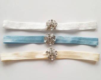 Grace Minimalist Vintage Inspired Wedding Garter with Diamante Flower