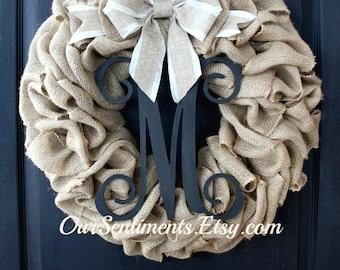 Summer Door wreath- Burlap Wreath - Home decor Etsy Wreath -Wreaths for Summer wreaths for door Door Wreath - Monogram wreath Initial Wreath