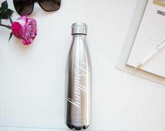 Personalized Water Bottle- STAYS COLD 24 HOURS - Stainless Steel Vacuum Sealed - Custom Water Bottle