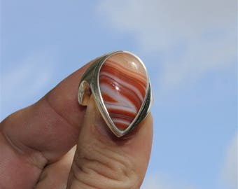 Tribal silver rings and sardonyx agate