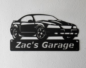 Ford Mustang 1994- 2004 4th Generation Man Cave - Garage Sign - Satin Black - Personalized Sign - Metal Art - Car Art