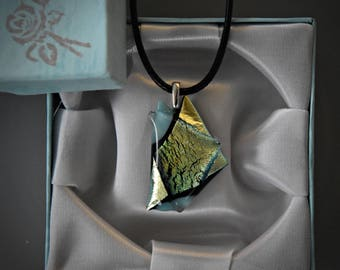 Dichroic glass pendant/glass jewel/Turquoise + Dichroic/tack-fuse