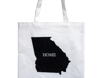 Georgia state map tote bag