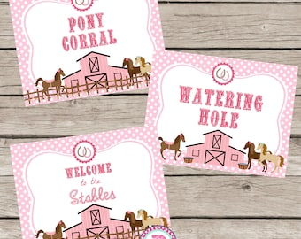 Pony Birthday Party Ideas Pink Polka Dot Farm Cowgirl Horseback Riding Printable Pony Corral Watering Hole Welcome to the Stables Horse Sign