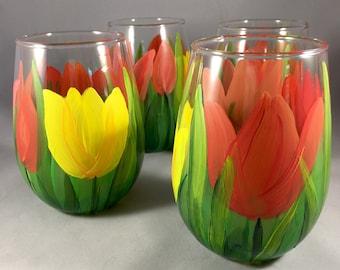 Tulip stemless wine glasses set of four