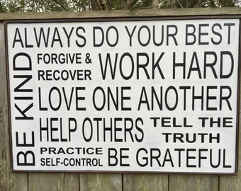 Always do your best, Family Rules Sign,Forgive and Recover,Custom Family Rules Sign,36x24
