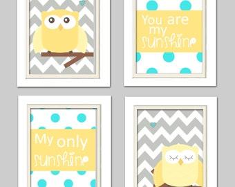 gray yellow and turquoise nursery, Nursery Owl Art, Grey and Yellow Nursery, Owl Nursery, Set of 4 8x10