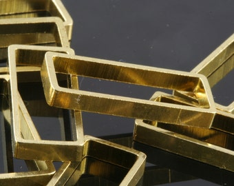 "6 pcs L23 Raw Brass  rectangle pendant 25 x 10 x 3 mm 1"" x 0,39"" x 0,12""  finding industrial design 1555"