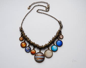 Gift for Mom, Science Necklace, Solar System Statement Bib Necklace, All 9 planets with Pluto, Space Celestial Galaxy Jewelry, Gift For Her