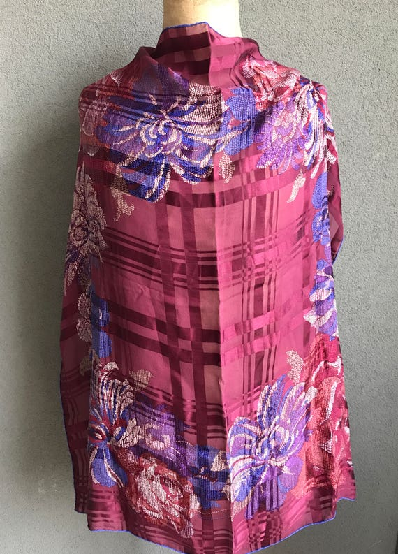 Vintage Bally silk purple with flowers in blue and white.