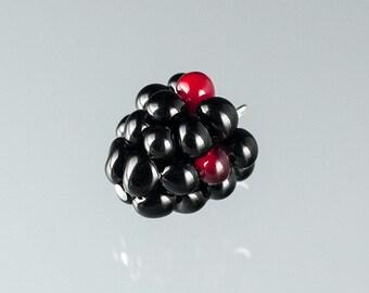 Glass Blackberry Charm Lampwork bead fruit jewelry hand blown glass art Birthday gift, Mother's Day gift for gardener, cook, chef
