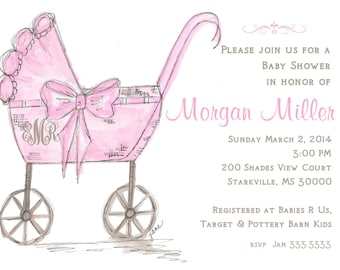 Baby carriage custom personalized invitation baby shower pink carriage baby girl invitation