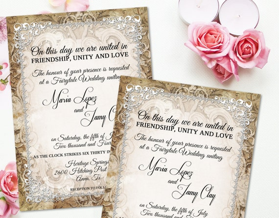 Me val Wedding Invitation Rustic Parchment Paper Ornate