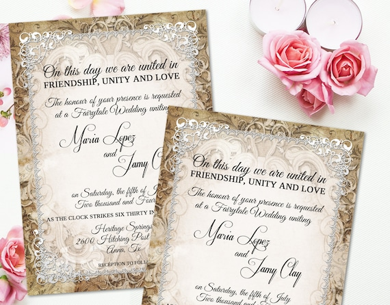 medieval wedding invitation rustic parchment paper ornate