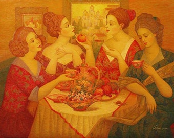 Oil on Canvas Original Signed Painting by Marina Grigoryan The Feast Unique Art