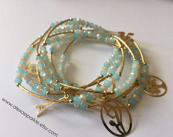 Cotton Blue & White bracelets with gold plated charms - Semanario pulseras azul algodon y blanco con dijes de chapa de oro