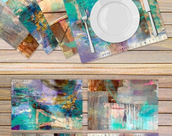 Set of Artistic place mats printed on vinyl fabric in colors of Turquoise and purple - Housewarming gift idea