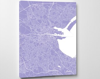 Dublin Street Map Print Map of Dublin City Street Map Ireland Poster Wall Art 7110P
