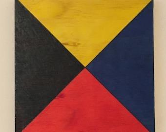 "Nautical Signal Flag ""Zulu"", Yellow, Black, Red, Blue, Nautical Flag, Signal Flag, Wood wall hanging, Pyrography Flag, Woodburning Flag"