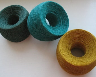 Linen Yarn Dark Green Mustard Yellow 200 gr (7 oz ), ball / 1 ply, each skein contains approximately 1900-2100 yds
