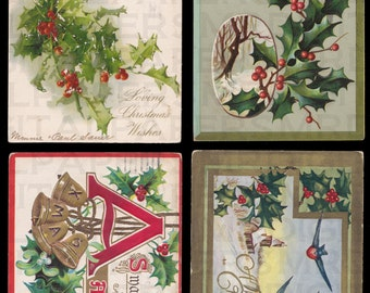 4 Four Antique Christmas Postcards. Birds. Holly. Xmas Bells. 14 x 21. Digital Paper Download Scrapbooking Supplies Instant High Resolution