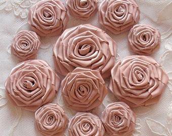 12  Handmade  Ribbon Roses MY-400-172 Vanilla Ready To Ship