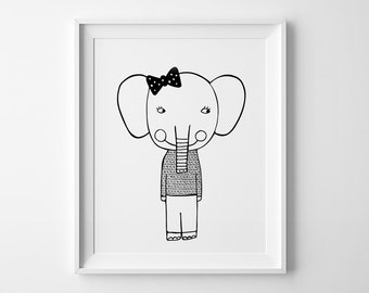 Elephant girl nursery print, mini learners, wall art prints, nursery decor, Scandinavian print, nursery art, elephant print, kids wall decor