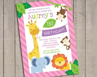 Girl Safari Birthday Invitation / Girl Jungle Safari Birthday Invitation / Sweet Safari Birthday invitation / Sweet Safari Invitation