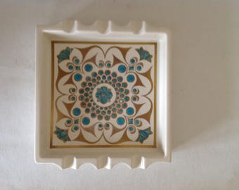Vintage Retro ceramic ashtray blue and gold design