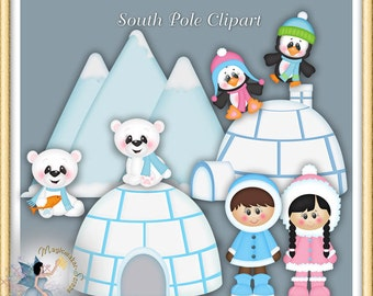 Eskimo Clipart, Polar Bear, Penguin, Winter, South Pole