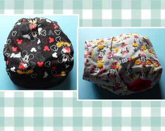 SassyCloth one size pocket diaper with Mouse cotton print. Made to order.