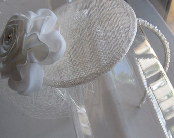 Ivory Ribbon Crystal Flower Sinamay Fascinator Hat with Veil and Pearl Headband, for Bridal, weddings, parties, special occasions