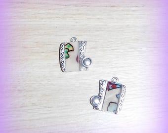 Multicolor silver geometric charms x 2