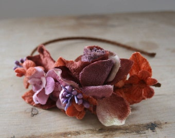 brides flower hairband made from vintage millinery flowers