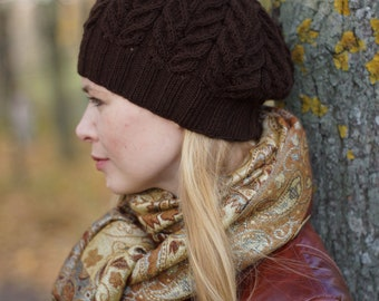 Hand knit autumn winter beret - chunky brown hat rustic