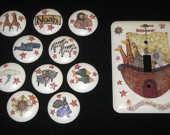 Set of 10 NOAH'S ARK KNoBS + SiNGLE MEtAL SWiTCH PLATE to Match - Hand Painted