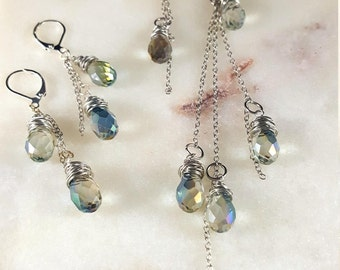 Lariat Crystal Necklace Earring Set. Dramatic AB Crystal Necklace Earring Set