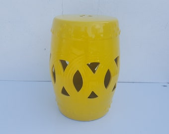 Vintage Yellow Glaze Garden  Stool .