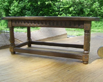 1/12th scale miniature Tudor Refectory table with turned legs