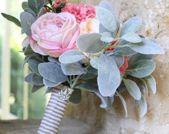 Ivory Peach Blush Pink Spring Summer Garden Wedding Bouquet Charm Alternative