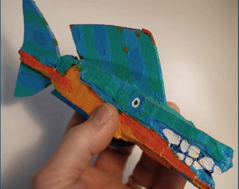 Whimsical Colorful Hanging Handmade Fish Art - Painted Recycled Wood Original Fish Decor