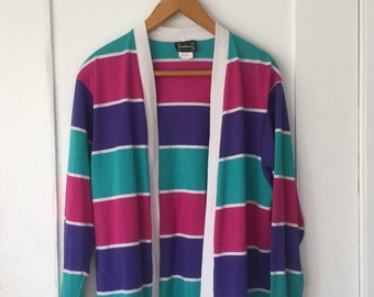 Women's Small - Vintage 80s Striped Cardigan Sweater ~ BonWorth