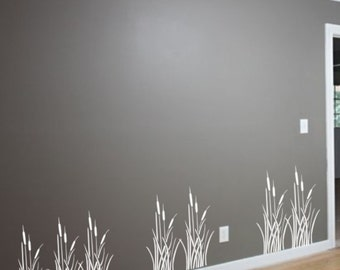 Wall Stencil,Cattails Border Stencil, Wall Stencils,Decorative Stencil, All Over Stencil, Wall Decor