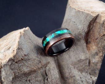Bentwood macassar ebony wooden ring with green - emerald mosaic style inlay - men's wood ring, women's wood ring, green inlay