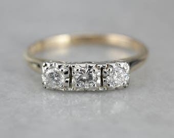 Vintage Three Stone Diamond Ring, Vintage Engagement Ring, Anniversary Ring, Past Present Future Ring 49MHF5-P