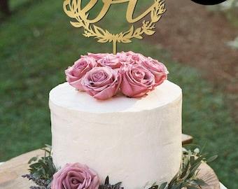 Letter H Monogram Wedding Cake Topper, Gold Monogram Cake Toppers, Initials Wedding Cake Topper, Personalized Gold Monogram Cake Topper