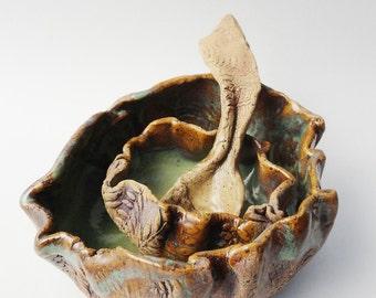 Ceramic Sugar Spoon, Small Decorative Spoon, Rustic Primitive Twisted, Hobbitware, Hobbit Spoon, Curvy Tiny Cute