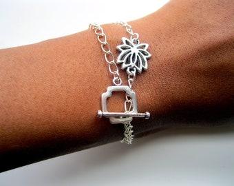 Lotus Flower Wrap Bracelet, bohemian bracelet, yoga jewelry, boho jewelry, lotus bracelet, gypsy bracelet, everyday bracelet