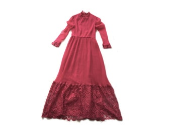 hot pink 70s Maxi Dress, Pleated Dress, Long Sleeve Dress, high neck dress, Medium Dress, m Dress, Boho Dress Vintage Dress, 70s Dress